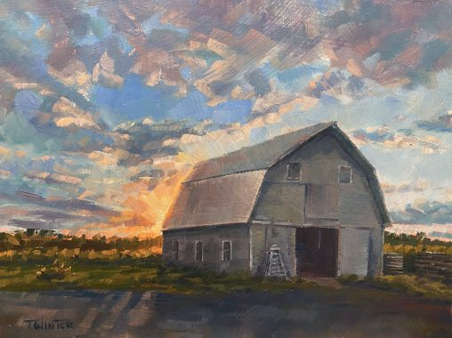 Sunset Barn Painting