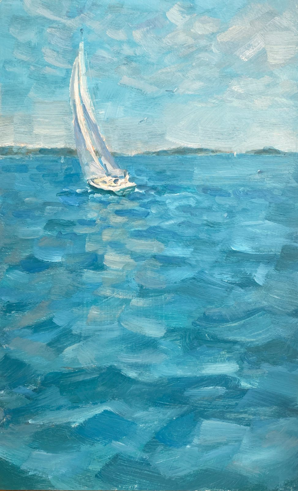 Painting of Sailboat in Salem Harbor